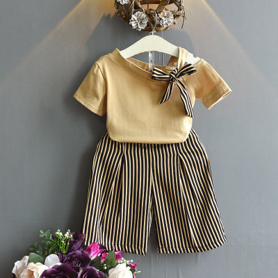Summer Children's Outfit Shoulder-exposed Short-sleeved Jacket And Striped Broad-legged Trousers