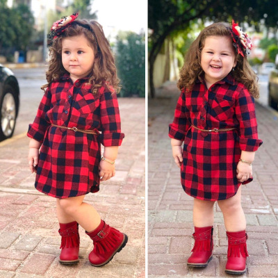 Children's Spring And Autumn Girl's Long Sleeve Red Chequered Dress + Belt Two Kids'Skirt