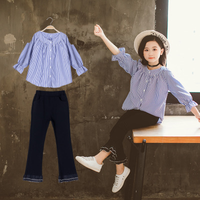 Girl's Spring And Autumn Shirt Suit Autumn Striped Horn Sleeve Two-piece Suit