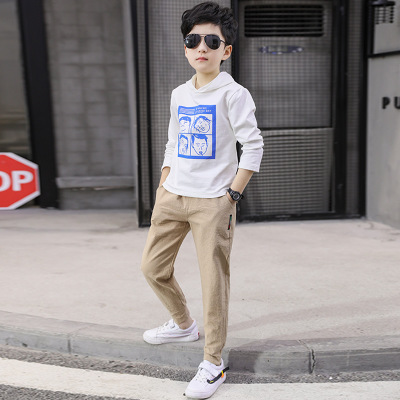 Children's Sport And Leisure Suit Spring And Autumn Suit Hooded Jacket And Trousers